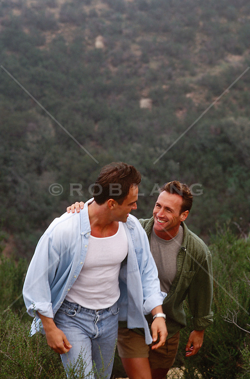 two men enjoying a hike together