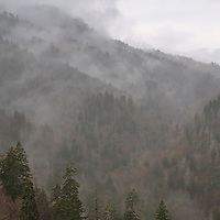 Rain clouds and fog fill the valleys as seen from Morton Overlook. Newfound Gap Road, Great Smoky Mountain National Park.