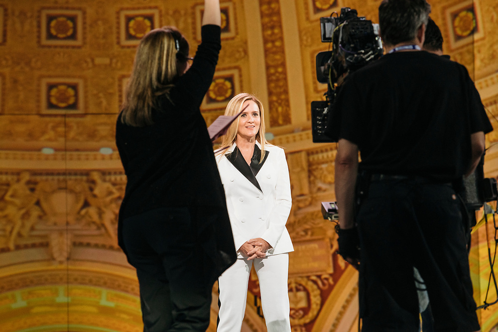 Samantha Bee goes through rehearsals the day before Full Frontal with Samantha Bee's Not the White House Correspondents' Dinner at D.A.R. Constitution Hall in Washington D.C. on April 28, 2017.