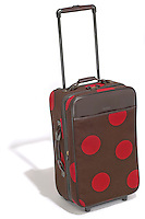 hartmann carry-on luggage in brown with red polka dots