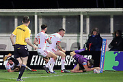 Huddersfield Giants half back Lee Gaskell (6) scores the opening try to make it 0-4 during the Betfred Super League match between Hull Kingston Rovers and Huddersfield Giants at the Hull College Craven Park  Stadium, Hull, United Kingdom on 21 February 2020.