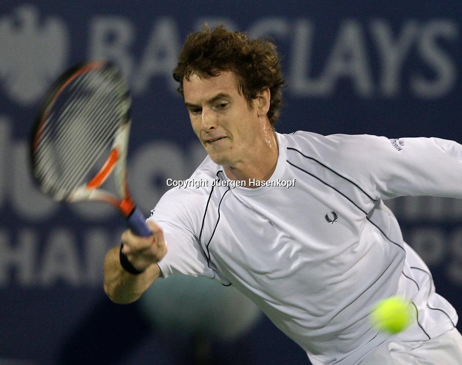 Barclays Dubai Tennis Championships, ATP Tennis..Turnier, United Arab Emirates,V.A.E. ..Andy Murray (GBR)..Foto: Juergen Hasenkopf..B a n k v e r b.  S S P K  M u e n ch e n, ..BLZ. 70150000, Kto. 10-210359,..+++ Veroeffentlichung nur gegen Honorar nach MFM,..Namensnennung und Belegexemplar. Inhaltsveraendernde Manipulation des Fotos nur nach ausdruecklicher Genehmigung durch den Fotografen...Persoenlichkeitsrechte oder Model Release Vertraege der abgebildeten Personen sind nicht vorhanden.