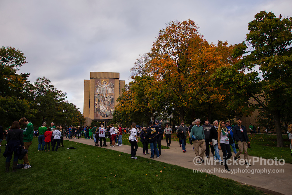 SOUTH BEND, IN - OCTOBER 15: General campus view of Hesburgh Library seen before the game against Stanford at Notre Dame Stadium on October 15, 2016 in South Bend, Indiana. Stanford defeated Notre Dame 17-10. (Photo by Michael Hickey/Getty Images)