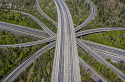 © Licensed to London News Pictures. 10/04/2020. Merstham, UK. Good Friday traffic on the M25/M23 junction is non-existent at 1pm. The government has warned that people must continue to follow the public health guidance over the Easter weekend. Photo credit: Peter Macdiarmid/LNP