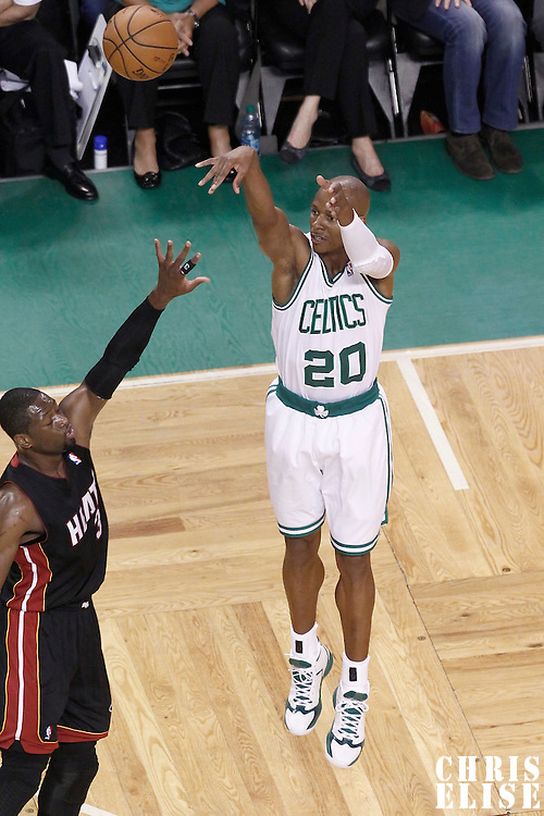 03 June 2012: Boston Celtics shooting guard Ray Allen (20) takes a jumpshot over Miami Heat shooting guard Dwyane Wade (3) during the Boston Celtics 93-91 overtime victory over the Miami Heat, in Game 4 of the Eastern Conference Finals playoff series, at the TD Banknorth Garden, Boston, Massachusetts, USA.