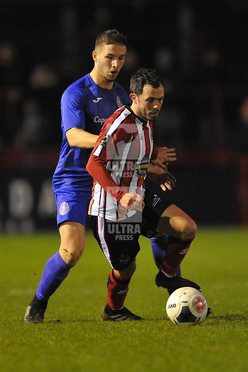 TELFORD COPYRIGHT MIKE SHERIDAN Zak Lilly battles for the ball with Craig Mahon during the Vanarama Conference North fixture between AFC Telford United and Altrincham at The J Davidson Scrap Stadium (Moss lane) on Tuesday, February 4, 2020.<br /> <br /> Picture credit: Mike Sheridan/Ultrapress<br /> <br /> MS201920-045