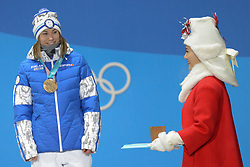 February 12, 2018 - Pyeongchang, South Korea - ENNI RUKAJARVI of Finland with her bronze medal from the snowboard Ladies' Slopestyle event in the PyeongChang Olympic games. (Credit Image: © Christopher Levy via ZUMA Wire)