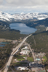 """Donner Lake and Truckee Aerial"" - Aerial photograph from a plane above Donner Lake and Truckee, CA."