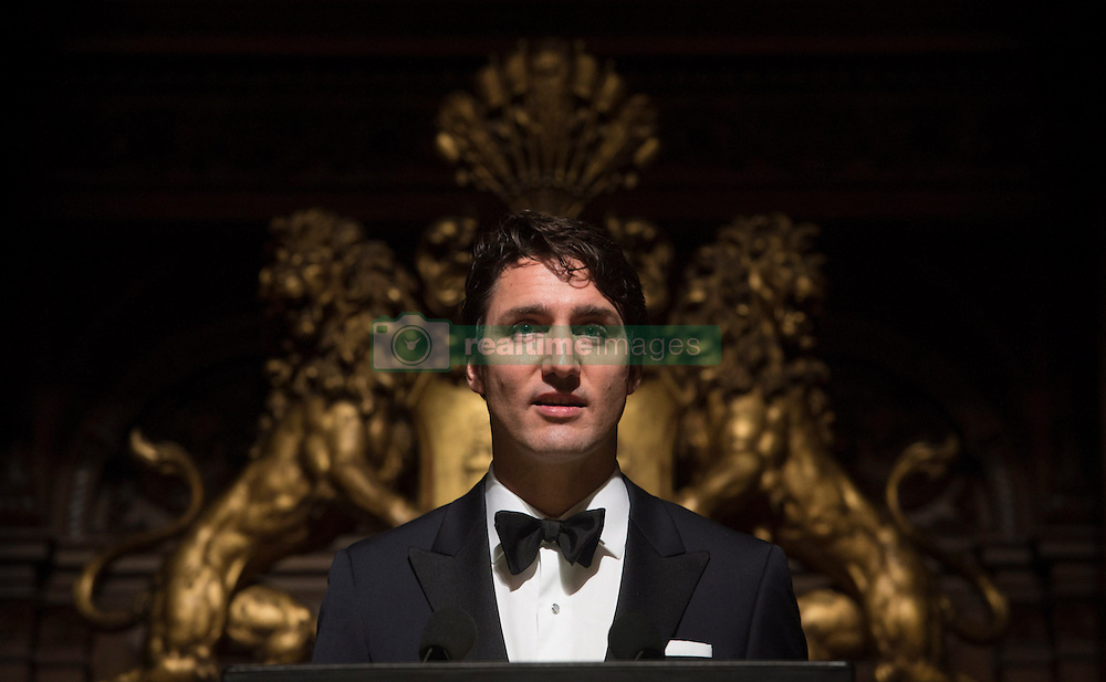 Canadian Prime Minister Justin Trudeau speaks at the St.Matthew's Day banquet in Hamburg, Germany Friday February 17, 2017. Photo by Adrian Wyld/CP/ABACAPRESS.COM  | 582755_004 Hamburg Allemagne Germany