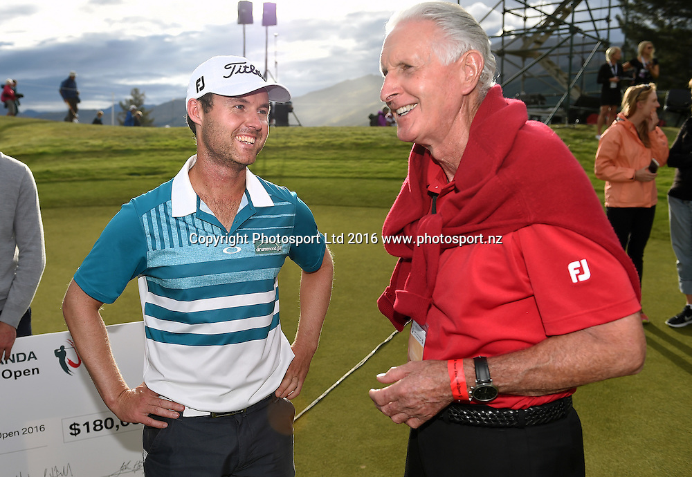 Australia's Matthew Griffin talks to Sir Bob Charles after winning the NZ Open at The Hills during 2016 BMW ISPS Handa New Zealand Open. Sunday 13 March 2016. Arrowtown, New Zealand. Copyright photo: Andrew Cornaga / www.photosport.nz