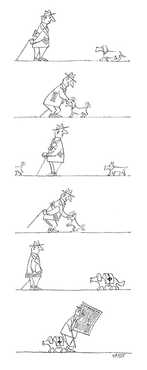 (A dog-loving man ignores a dog carrying a collection box)