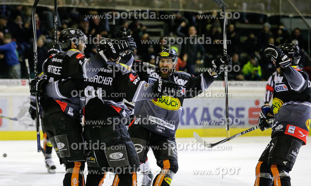 28.02.2016, Messestadion, Dornbirn, AUT, EBEL, Dornbirner Eishockey Club vs HC Orli Znojmo, Viertelfinale, 2. Spiel, im Bild Torjubel bei Dornbirner Eishockey Club// during the Erste Bank Icehockey League 2nd quarterfinal match between Dornbirner Eishockey Club and HC Orli Znojmo at the Messestadion in Dornbirn, Austria on 2016/02/28, EXPA Pictures © 2016, PhotoCredit: EXPA/ Peter Rinderer