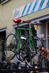 SWITZERLAND ZURICH 3MAR12 - Velerei cycle repair shop in Zurich city centre, Switzerland. The bike on display is a custom fixie assembled at the shop.....jre/Photo by Jiri Rezac....© Jiri Rezac 2012