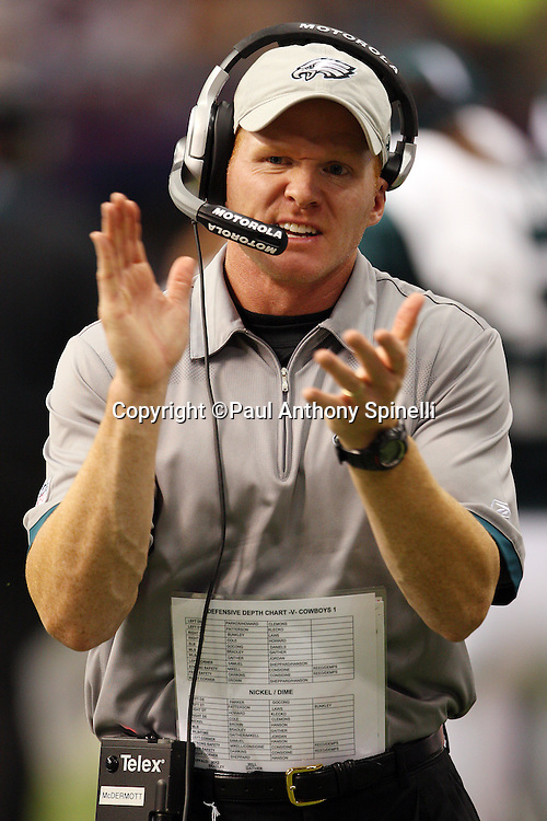 IRVING, TX - SEPTEMBER 15:  Secondary Coach Sean McDermott of the Philadelphia Eagles claps during the game against the Dallas Cowboys at Texas Stadium on September 15, 2008 in Irving, Texas. The Cowboys defeated the Eagles 41-37. ©Paul Anthony Spinelli *** Local Caption *** Sean McDermott