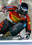 Maria Jose Rienda of Spain skis to the best time in the first heat of the women's World Cup giant slalom in Aspen, Colorado December 10, 2005. Nicole Hosp of Austria was second in the heat and Tanja Poutiainen of Finland third.