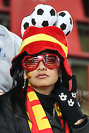21 JUN 2010:  Spanish fan in the stands.  The Spain National Team played the Honduras National Team at Ellis Park Stadium in Johannesburg, South Africa in a 2010 FIFA World Cup Group C match.