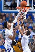 Kentucky forward Skal Labissiere, left, contests a shot by Missouri guard Terrence Phillips in the second half.<br /> <br /> The University of Kentucky hosted the University of Missouri, Wednesday, Jan. 27, 2016 at Rupp Arena in Lexington.
