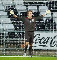 SWANSEA, ENGLAND - Friday, September 4, 2009: Wales' goalkeeper Chris Maxwel looks dejected as Italy score an equaliser during the UEFA Under 21 Championship Qualifying Group 3 match at the Liberty Stadium. (Photo by David Rawcliffe/Propaganda)