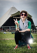 Caitlin Moran at Glastonbury festival on June24. 2015.<br /> <br /> Photos Ki Price