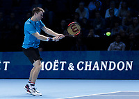 Tennis - 2017 Nitto ATP Finals at The O2 - Day One<br /> <br /> Mens Doubles: Group Eltingh/Haarhus: Henri Kontinen (Finland) & John Peers (Australia) Vs Ryan Harrison (United States) & Michael Venus (Australia)<br /> <br /> John Peers (Australia) with a backhand return of serve<br /> <br /> COLORSPORT/DANIEL BEARHAM