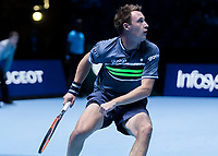 Tennis - 2017 Nitto ATP Finals at The O2 - Day One<br /> <br /> Mens Doubles: Group Eltingh/Haarhus: Henri Kontinen (Finland) & John Peers (Australia) Vs Ryan Harrison (United States) & Michael Venus (Australia)<br /> <br /> Henri Kontinen (Finland) follws the ball <br /> <br /> COLORSPORT/DANIEL BEARHAM