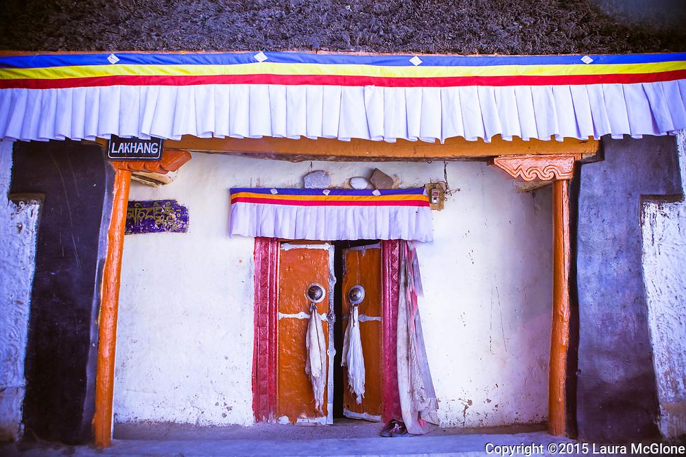 Doorway to the ancient temple site, Kye Tibetan Monastery, Spiti Valley, India