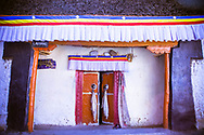 Doorway to the ancient temple site, Kye Tibetan Monastery, Spiti Valley, India