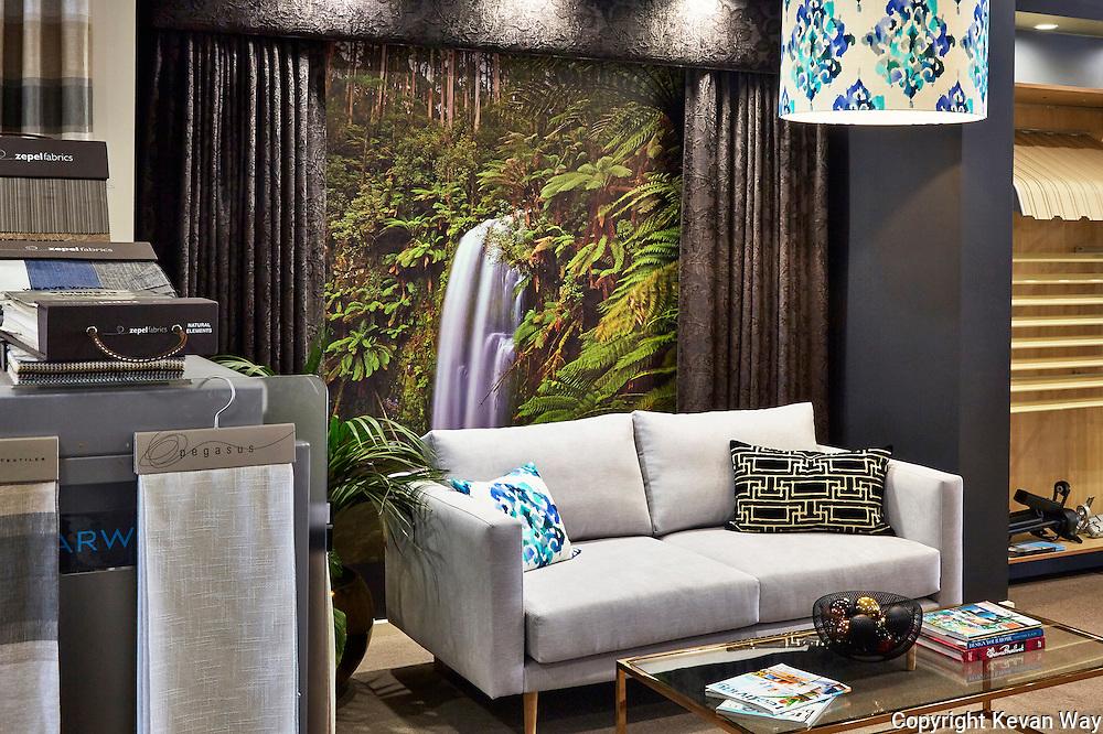 &quot;Beauchamp Falls'<br /> wallpaper in showroom installation<br /> Brax Window Furnishings Newtown