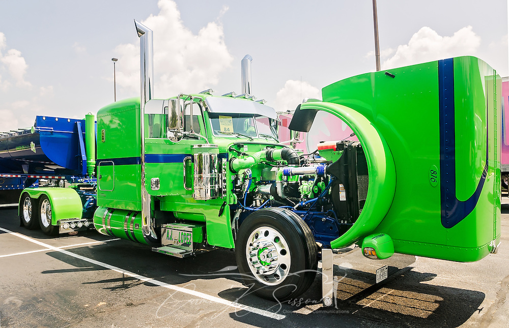 A 2015 Peterbilt 389 and 2015 Amorlite trailer, owned by A.J. Lopez Trucking, is displayed at the 34th annual Shell Rotella SuperRigs truck beauty contest, June 11, 2016, in Joplin, Missouri. SuperRigs, organized by Shell Oil Company, is an annual beauty contest for working trucks. Approximately 89 trucks entered this year's competition. The truck won in the show truck division. (Photo by Carmen K. Sisson/Cloudybright)
