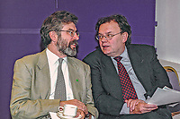Gerry Adams, president of Sinn Fein (left), with Tom Hartley, a Sinn Fein member of Belfast City Council. Ref: 2001051680.<br />