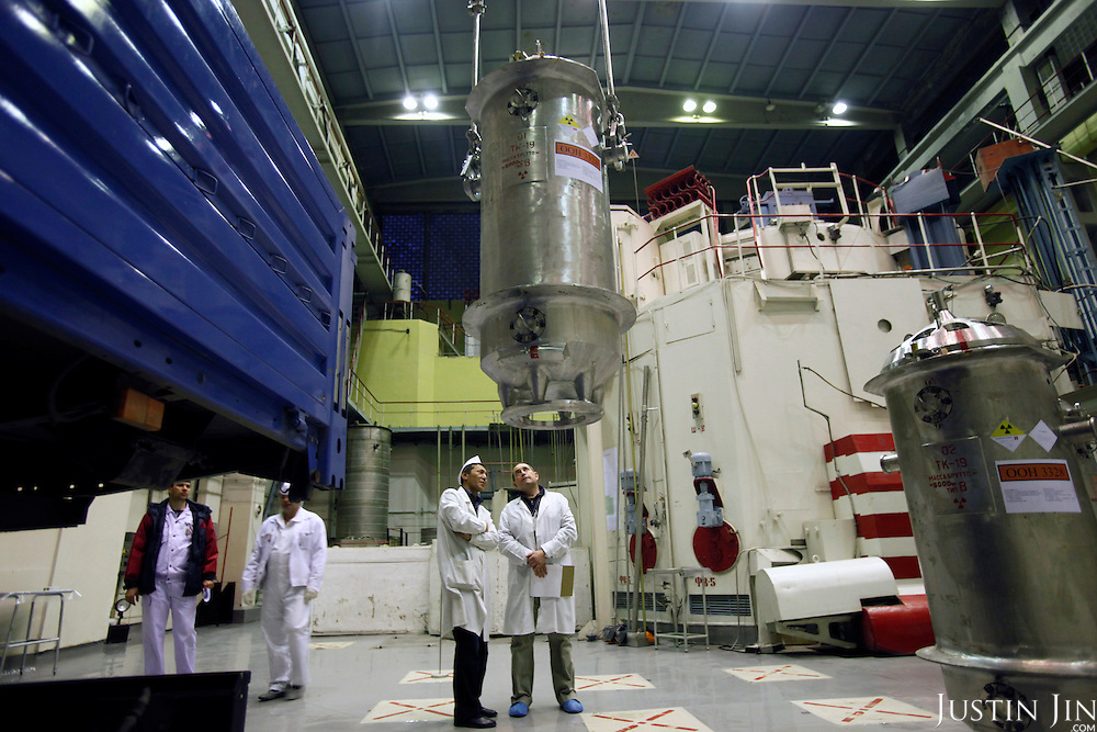 American-Ukrainian physicist Igor Bolshinsky monitors the loading of casks containing highly enriched uranium into trucks at the Institute of Nuclear Physics in Almaty, Kazakhstan. .The removal of Kazakhstan's highly enriched uranium (HEU) is part of the U.S. Global Threat Reduction Initiative (GTRI), where Igor Bolshinsky and Kelly Cummins work, that tries to secure nuclear material around the world to prevent their misuse by terrorists and rogue states.