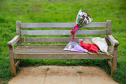 © licensed to London News Pictures. London, UK 07/05/2014. Flowers left in Crane Park, west London where a 18-year-old man has been stabbed to death on 6 May 2014. Photo credit: Tolga Akmen/LNP