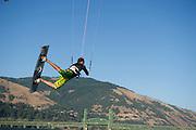 Fernando Gomez kiteboarding at Hood River, Oregon