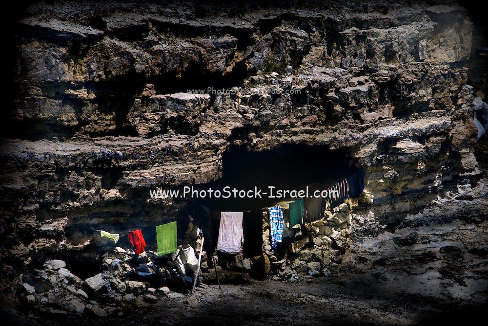 Bedouin family cave dwellers. Petra, Jordan.