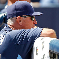 March 21, 2012; Port Charlotte, FL, USA; Tampa Bay Rays manager Joe Maddon (70) watches from the dugout during the fifth inning of a spring training game New York Yankees at Charlotte Sports Park.  Mandatory Credit: Derick E. Hingle-US PRESSWIRE