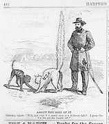 Harper's Weekly June 25, 1864  Grant Civil War cartoon with the North and South portrayed as 2 cats fighting with the Union cat having the biggest tail.