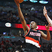 16 March 2012: Portland Trail Blazers guard Nolan Smith (4) goes for the layup during the Portland Trail Blazers 100-89 victory over the Chicago Bulls at the United Center, Chicago, Illinois, USA.
