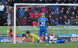 Conor O'Malley of Peterborough United cant prevent Doncaster Rovers from scoring an equalising goal - Mandatory by-line: Joe Dent/JMP - 09/02/2019 - FOOTBALL - The Keepmoat Stadium - Doncaster, England - Doncaster Rovers v Peterborough United - Sky Bet League One