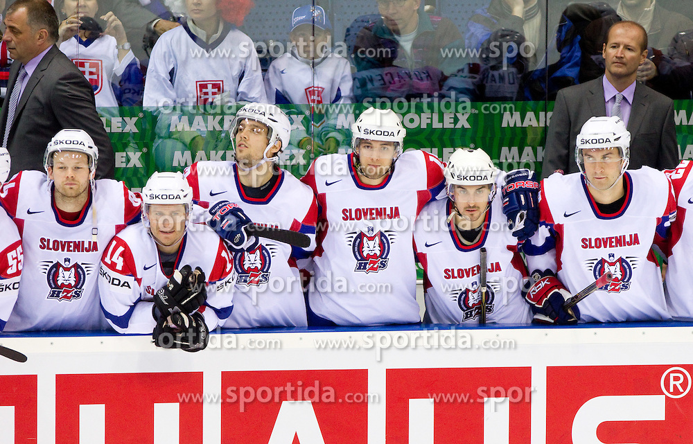 Andrej Hebar of Slovenia, Matej Hocevar of Slovenia, David Rodman of Slovenia, Ziga Pance of Slovenia, Klemen Pretnar of Slovenia, Sabahudin Kovacevic of Slovenia during penalty shots during ice-hockey match between Slovenia and Germany of Group A of IIHF 2011 World Championship Slovakia, on May 3, 2011 in Orange Arena, Bratislava, Slovakia. Germany defeated Slovenia 3-2 after overtime and penalty shots. (Photo By Vid Ponikvar / Sportida.com)