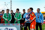 CHAMPIONS Luton Town defender Dan Potts (3) sprays champagne, Luton Town players celebrate after winning the league title after their win in the EFL Sky Bet League 1 match between Luton Town and Oxford United at Kenilworth Road, Luton, England on 4 May 2019.
