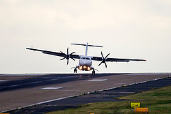 © Licensed to London News Pictures. 14/06/2018. Leeds UK. A Air Lingus aircraft struggles to land in heavy cross winds at Englands highest airport, Leeds Bradford as Storm Hector begins to batter Britain. Photo credit: Andrew McCaren/LNP