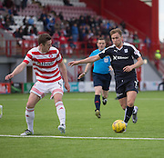 Dundee&rsquo;s Greg Stewart runs at Hamilton&rsquo;s Mikey Devlin - Hamilton v Dundee, Ladbrokes Scottish Premiership at New Douglas Park<br />  <br />  - &copy; David Young - www.davidyoungphoto.co.uk - email: davidyoungphoto@gmail.com