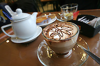 Cappuccino served in a cafe in Rome Italy