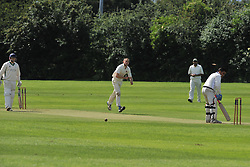 ROTHWELLS BOWLER DEAN SPREADBURY  BOWLS OUT SAINTS ZED BABER, ROTHWELL CRICKET CLUB v  NORTHAMPTON SAINTS  CC, Desborough  Road Rothwell  Saturday 25th June 2016