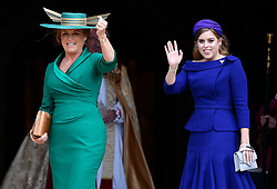 Sarah, Duchess of York, and Princess Beatrice of York arrive for the wedding of Princess Eugenie and Jack Brooksbank at St George's Chapel in Windsor Castle, Windsor.