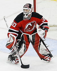 Mar 12, 2009; Newark, NJ, USA; New Jersey Devils goalie Martin Brodeur (30) during the third period at the Prudential Center. The Devils defeated the Coyotes 5-2, and Brodeur moved to within one win of tying Patrick Roy for the all-time win record.