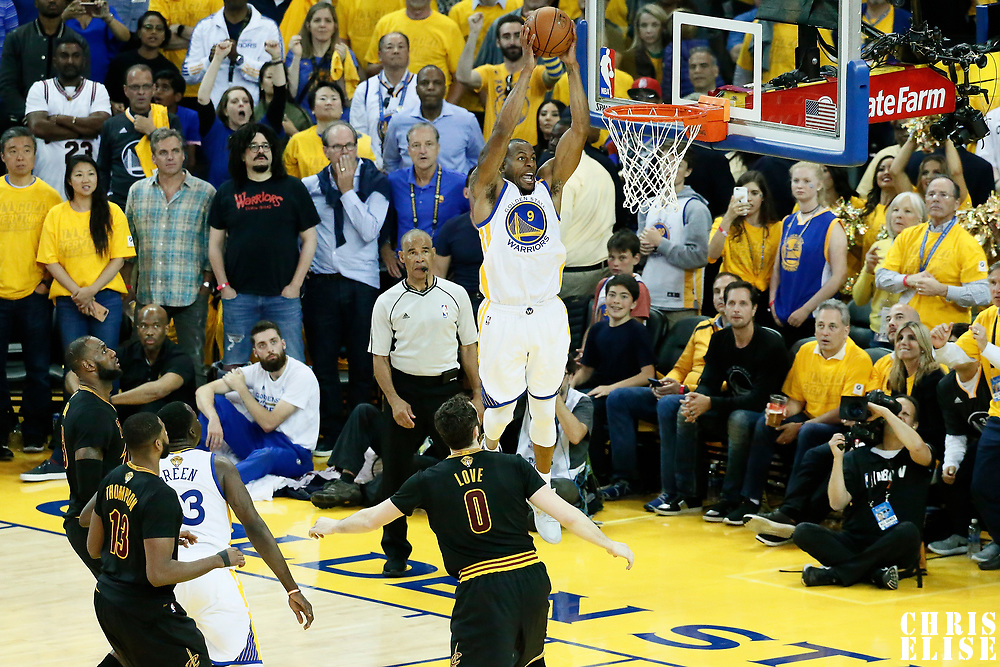 12 June 2017: Golden State Warriors forward Andre Iguodala (9) goes for the dunk during the Golden State Warriors 129-120 victory over the Cleveland Cavaliers, in game 5 of the 2017 NBA Finals, at the Oracle Arena, Oakland, California, USA.