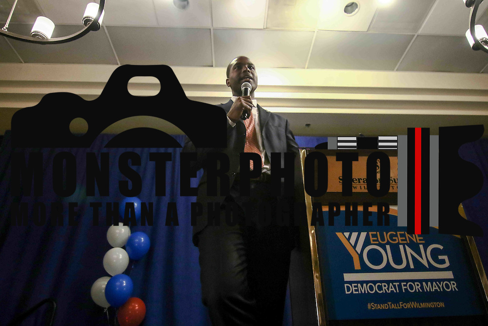 Democratic primary candidate for mayor Eugene Young addresses volunteers and supporters after losing the Wilmington Mayor's race to Mike Purzycki, Tuesday, September. 13, 2016, at the Sheraton Hotel in Wilmington.