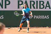 Damir Dzumhur (bih) during the Roland Garros French Tennis Open 2018, day 1, on May 27, 2018, at the Roland Garros Stadium in Paris, France - Photo Pierre Charlier / ProSportsImages / DPPI