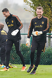 November 8, 2017 - Tubize, BELGIUM - Belgium's goalkeeper Koen Casteels and Belgium's goalkeeper Simon Mignolet pictured during a training session of Belgian national soccer team Red Devils, Wednesday 08 November 2017, in Tubize. The team will be playing a friendly game against Mexico on 10th November and Japan on 14th November. BELGA PHOTO BRUNO FAHY (Credit Image: © Bruno Fahy/Belga via ZUMA Press)